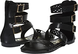 bebe Girls Triple Ankle Wide Strap Flat Sandals with Back Zipper (See More Colors and Sizes)