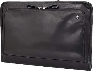 Black Leather Folio Bag Zip Meeting Bailiff Portfolio A4 Document Underarm Case Stanford