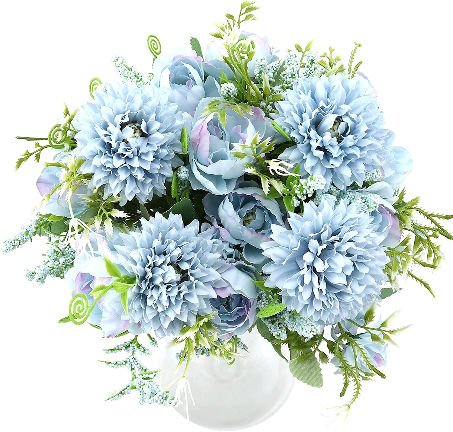THE BLOOM TIMES 4 Pack Artificial Flowers for Decoration Fake Hydrangea Silk Bouquet Faux Penoy Chrysanthemum Ball Flower Arrangements for Home Decor Indoor (Blue)