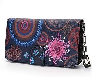 Geldbeutel Damen groß im Langformat, Geldbörse Damen mit Blumen und Blüten Muster im Mandala und Ethno Stil, Portemonnaie ...