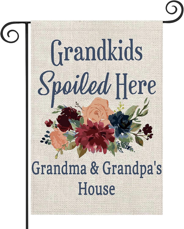 ZJXHPO Grandparents Garden Flag Grandkids Spoiled Here Grandma & Grandpa's House Outdoor Flag Banners Garden Yard (Grandma & Grandpa's House)