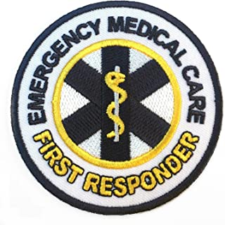 Emergency Medical Care First Responder Patch Embroidered Iron on Badge / 3 Inch DIY Applique First Aid CPR AED