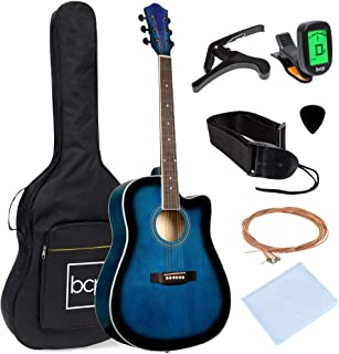 Best Best Choice Products 41in Full Size Beginner All Wood Cutaway Acoustic Guitar Starter Set with Case, Strap, Capo, Strings, Picks, Tuner - Blue Review