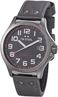 TW Steel Pilot Watch - Grey Dial Date TW Steel Watch Mens - Grey Leather Band 45mm Stainless Steel Plated Titanium Watch T...
