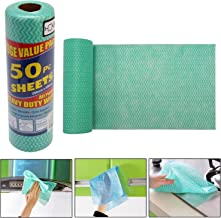 HOKIPO Reusable Super Absorbent Cleaning Wipes Roll, Piece of 1 (50 Pc Sheet - 250x300mm Each) Green