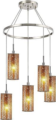 Woodbridge Lighting 13428STN-M10AMB Chandelier, Satin Nickel