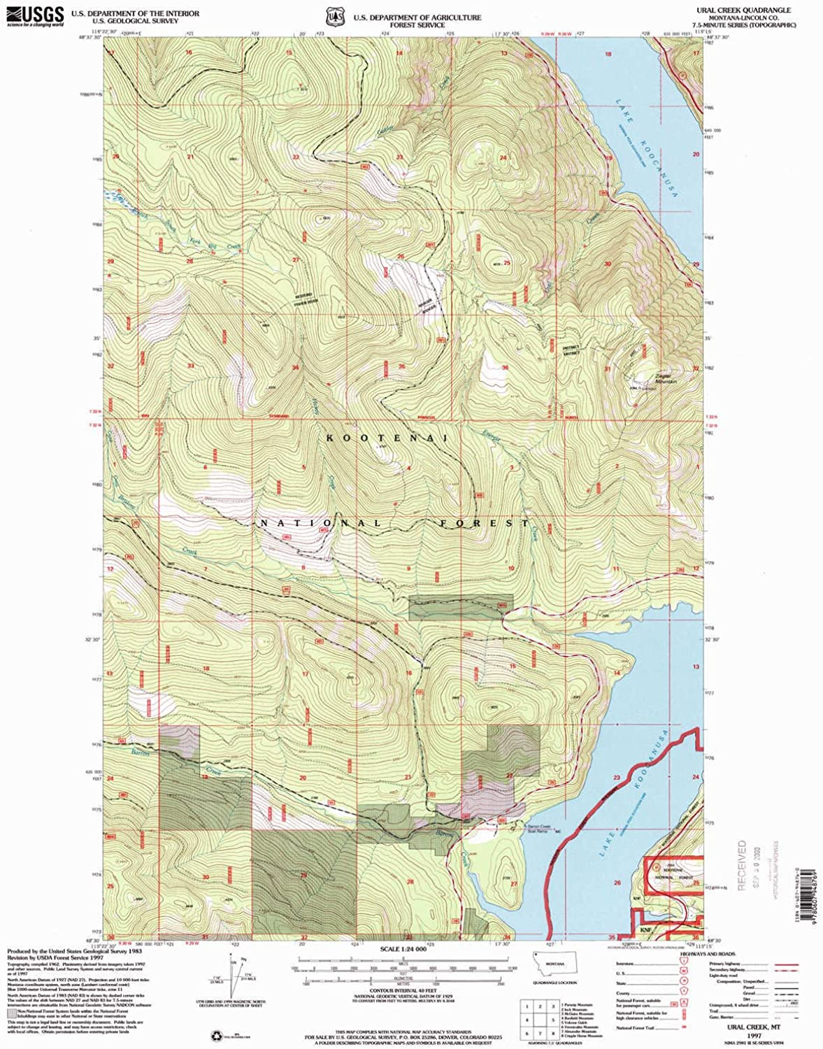 Ural Creek MT topo map, 1 24000 Scale, 7.5 X 7.5 Minute, Historical, 1997, Updated 2000, 27 x 22.2 in