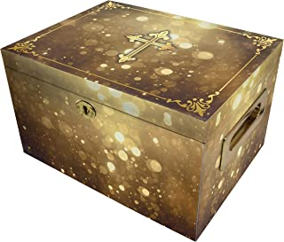 Shining His Light (Gold) Cremation Urn Memorial Collection Chest with Lock and Key, Cremation Urns for Adult Ashes, Urns f...