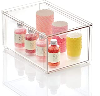 mDesign boîte de rangement pour la cuisine – boîte de rangement plastique pour placards ou frigo – bac de rangement empila...