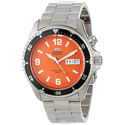 Orient Mens FEM65001MW Orange Mako Stainless Steel Automatic Dive Watch