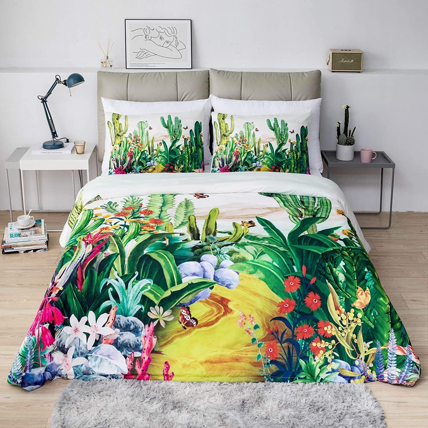 Branch and Plum Blossom Pattern Bedding Set 1 Duvet Cover and 2 Pillow Covers Argstar 3 Pcs King Duvet Covers Navy Blue Floral Comforter Cover with Zipper Ties Ultra Soft Lightweight Microfiber