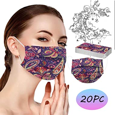 Jqieown 20 Pcs Christmas Face_Covering for Adults,Cute Cartoon Snowman Prints Mouthguard for Outdoors, High Filtration and Ve