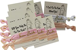 Team Bride Hair Ties for Bridesmaids & Dual Side Proposal Cards to Ask Bridesmaids, Matron & Maid of Honors or Flower Girl | Kit has 7 'Team Bride' & 1 'Bride' with Gold Foil Letters (Rose Pink/Nude)