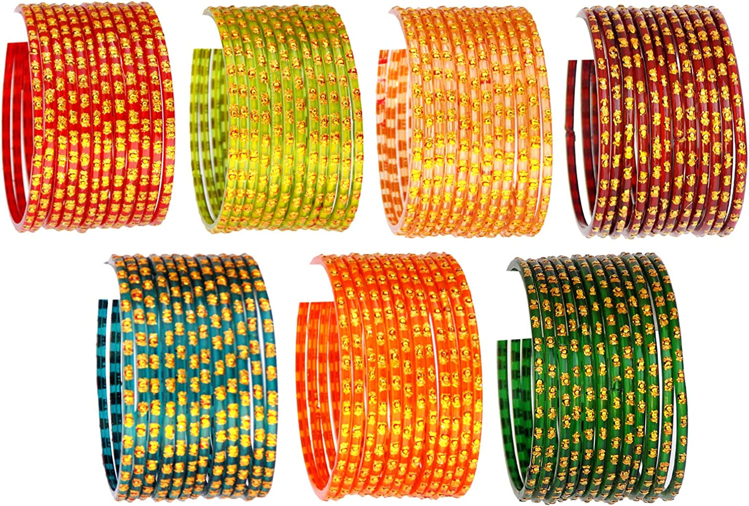 JD'Z COLLECTION Indian Jewelry Bangles Bollywood Bangle Bridal Ethnic Dailywear Glass Bangles Set for Women Traditional Bangles Size-2.2 Mehrun