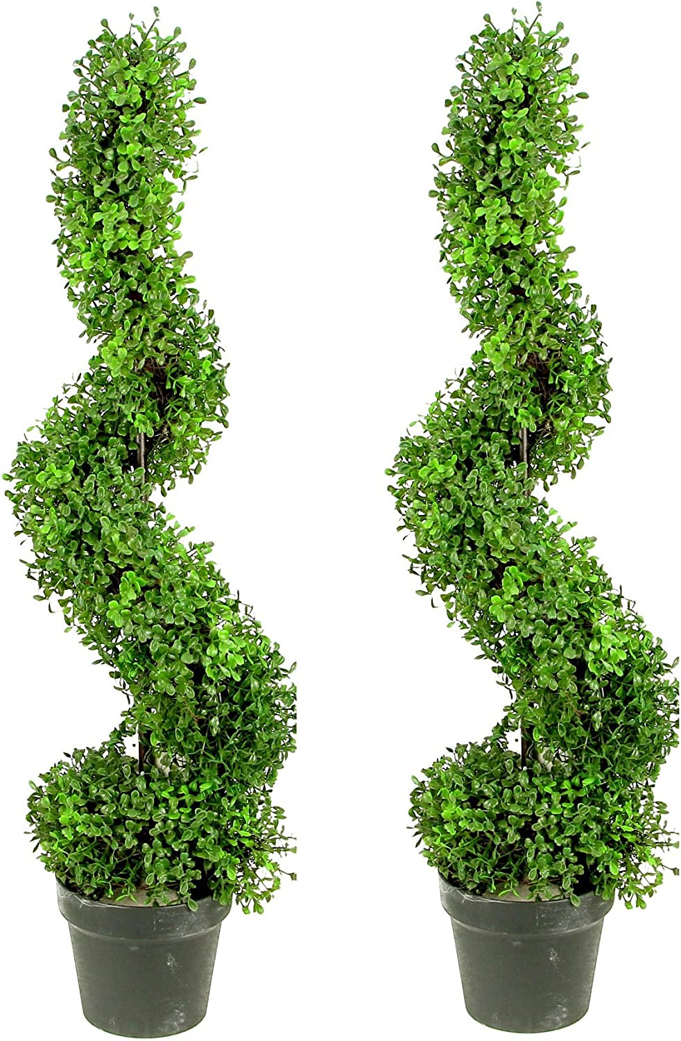 Admired by Nature 2 x 3' Aritificial Boxwood Leave Spiral Topiary Plant Tree in Plastic Pot, Green Two-Tone