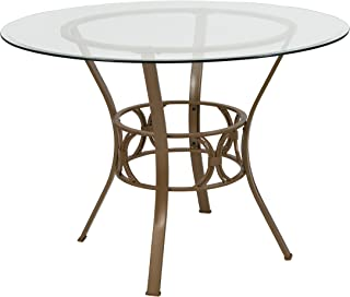 Flash Furniture Carlisle 42'' Round Glass Dining Table with Matte Gold Metal Frame