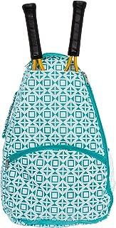 LISH Deuce Tennis Racket Backpack - Women's Geometric Square Printed Tennis Racquet Holder Bag