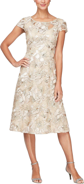Alex Evenings Women's Plus Size Tea Length Dress with Rosette Detail
