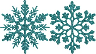 Sea Team Plastic Christmas Glitter Snowflake Ornaments Christmas Tree Decorations, 4-inch, Set of 36, Turquoise