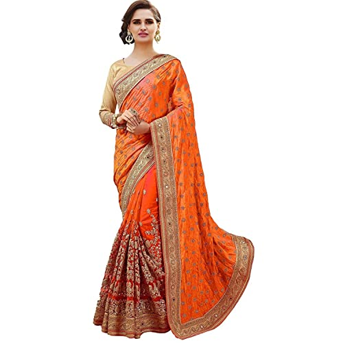 11e670a861 SareeShop Women's Georgette & Net Embroidered Saree with Blouse piece