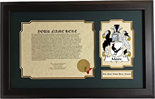 Moore - Coat of Arms and Last Name History, 14x22 Inches Matted and Framed