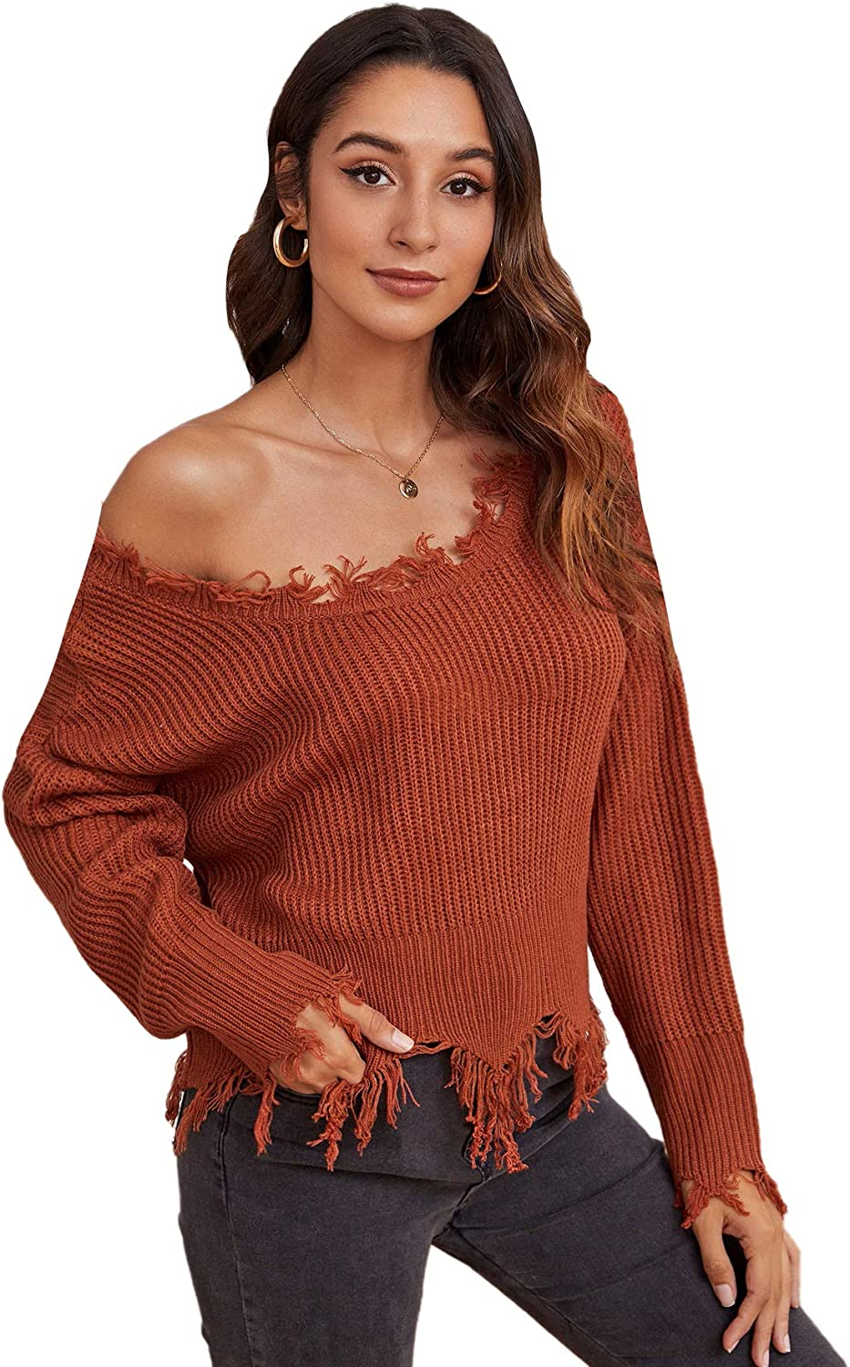 Verdusa Women's Ripped Scoop Neck Long Sleeve Frayed Knitted Pullover Sweater Top