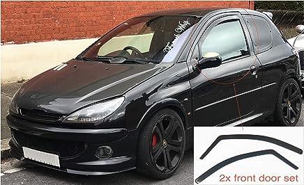 2x Deflectores de Aire para Peugeot 206 de 3 Puertas Derivabrisas ajuste interior protección sol lluvia
