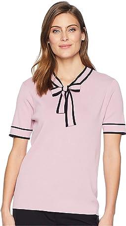 Short Sleeve Contrast Trim Tie Neck Sweater