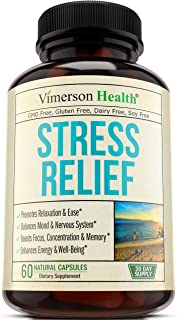 Stress Relief Mood Enhancer Supplement. Relief from Occasional Anxiety, with Biotin, 5-HTP, Valerian, Lutein, Vitamin B1 B2 B5 B6, L-Theanine, St. John's Wort, Ashwagandha, Chamomile. Niacin, GABA.