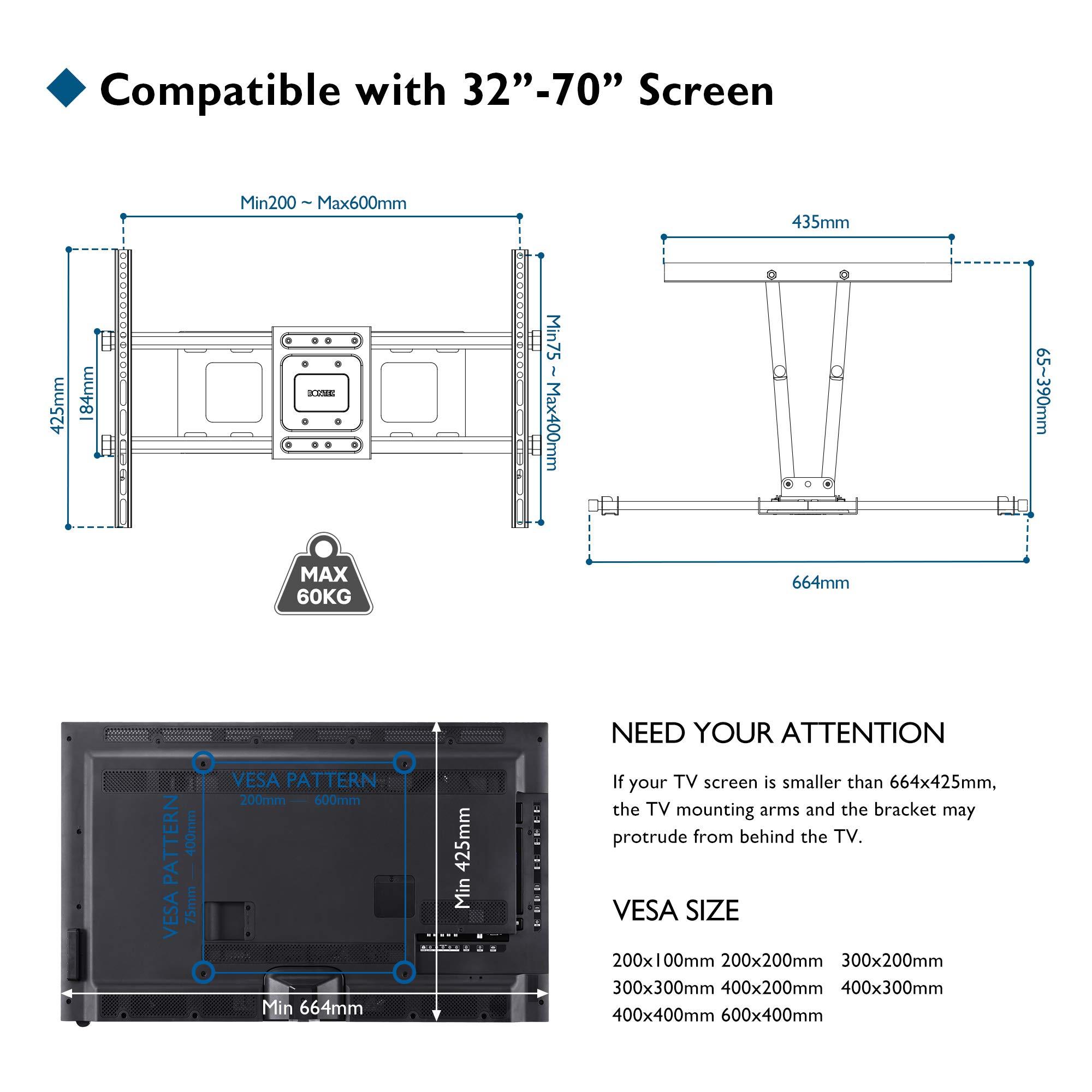 BONTEC Soporte Universal de Pedestal de Televisor con Soporte para Televisor de 26