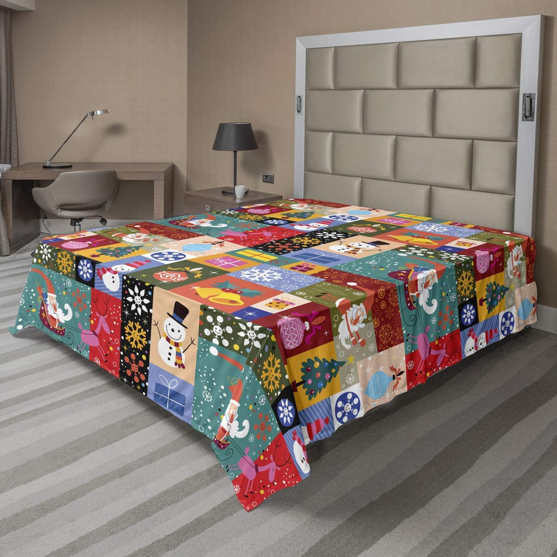 Lunarable gift shopping Christmas Flat Sheet Modern Funny Xmas Theme W Design