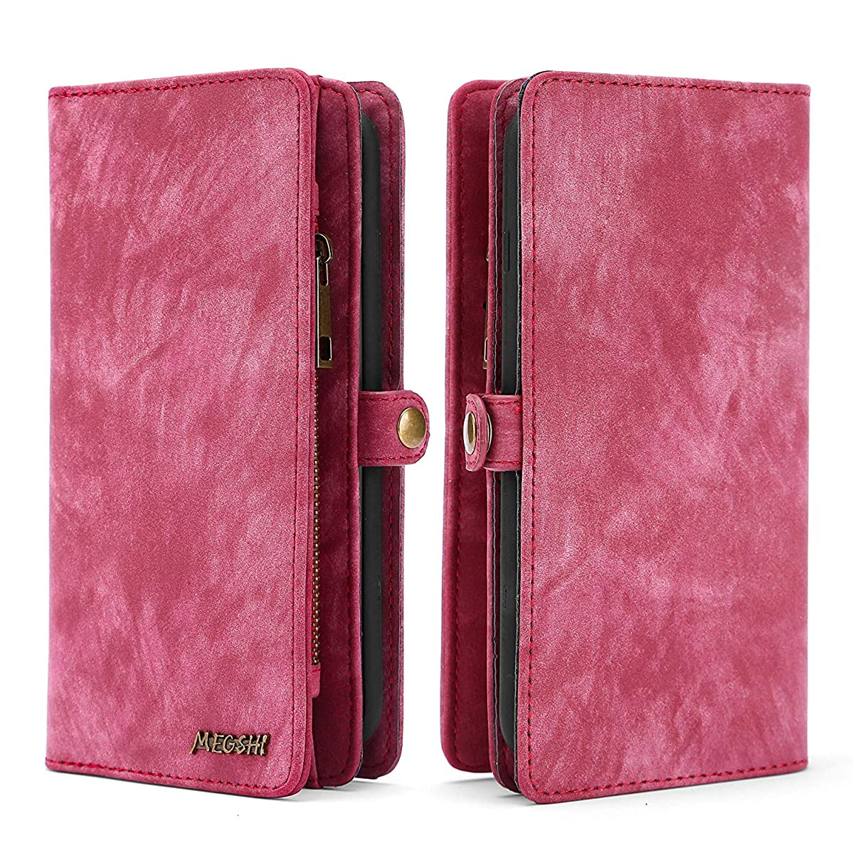 Spritech OnePlus 6T Wallet Case,Handmade Leather Large Capacity Detachable [Scratch Resistant] Zipper Wallet Cover with Credit Card Holder for OnePlus 6T (2018)