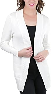 ToBeInStyle Women's Long Sleeve Rib Banded Open Sweater Cardigan