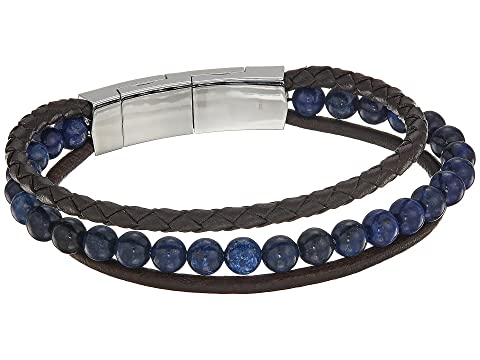 Fossil Casual Multistrand Beaded And Leather Bracelet At Zappos Com