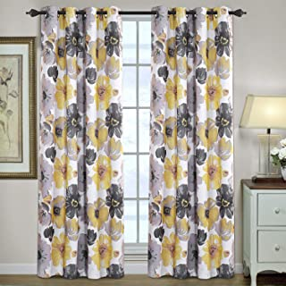 H.VERSAILTEX Window Treatment Curtains for Bedroom Thermal Insulated Blackout Curtains for Living Room, 2 Panels, Vintage Blooming Floral Pattern in Yellow and Gray, 52