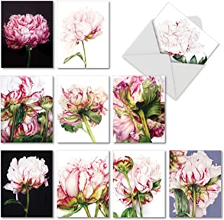 Precious Peonies - Box of 10 Floral Blank Note Cards with Envelopes (4 x 5.12 Inch) - Pretty Peony Flowers, All-Occasion Greeting Cards - Notecard Stationery for All Occasions AM6279OCB-B1x10