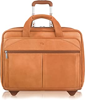 Solo New York Walker Rolling Laptop Bag. Premium Leather Rolling Briefcase for Women and Men. Fits up to 15.6 inch laptop - Tan