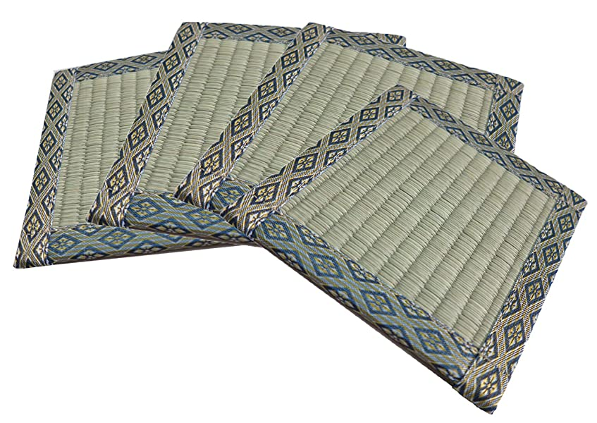 回転するベルベットおばあさん大島屋 イ草 座卓敷き 4枚入 (1枚あたり 約16×16cm)