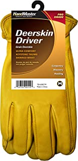 Magid TB1650ET-L Men's Deluxe Grain Deerskin Driver Gloves, Gold Color, Large (1 Pair)