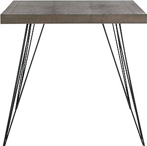 Safavieh EAF4205B Adam Table d'Appoint en Laque Fibre Chocolat/Noir 80 x 80 x 74,93 cm