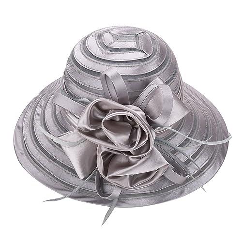 1573a7bb4f6 Lawliet Womens Solid Color Satin Church Wedding Kentucky Derby Sun Hat A214