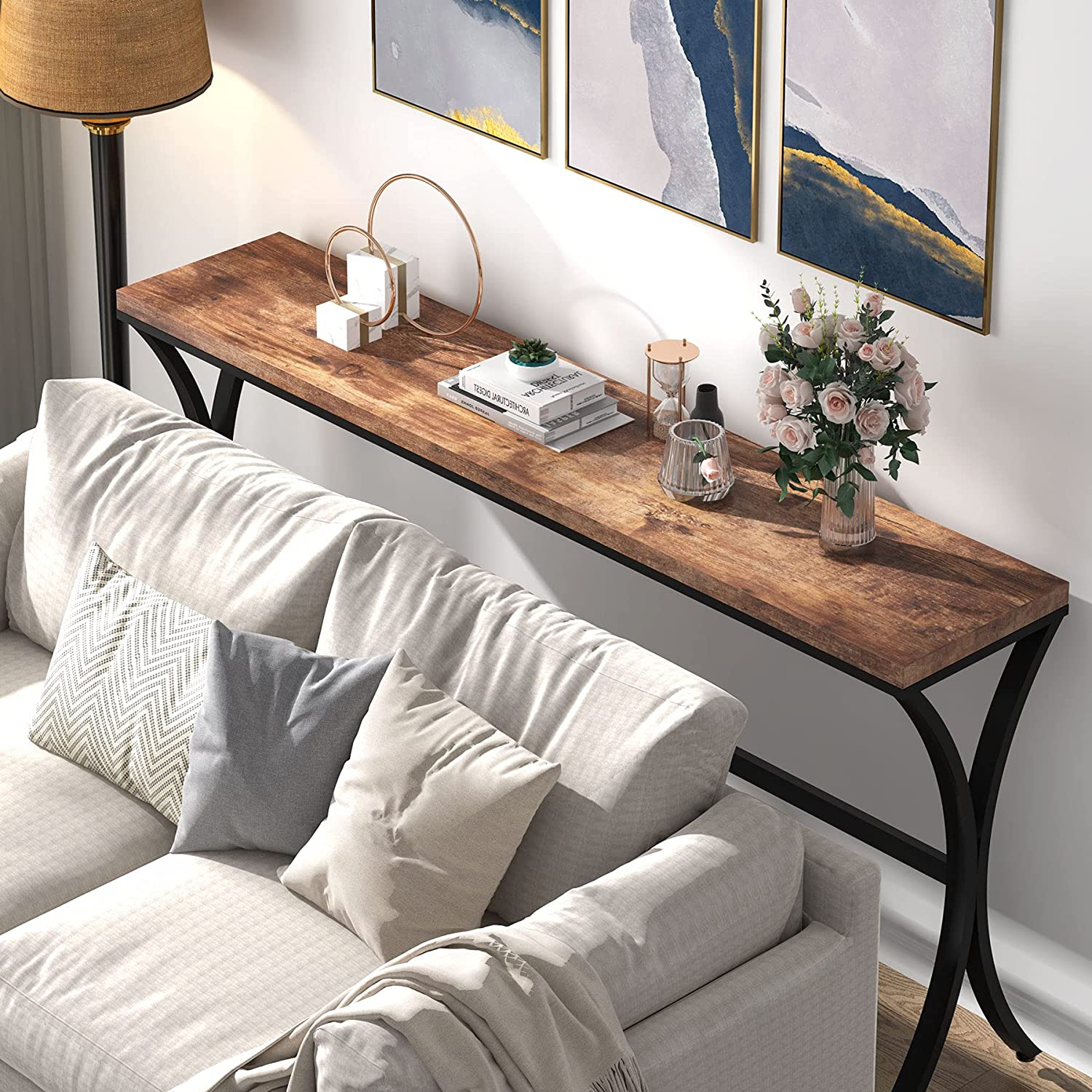 Buy Tribesigns Industrial Console Sofa Table, 20.20 inch Narrow ...