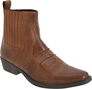 Gringos Woodland Mens Distressed Leather Gusset Western Ankle Boots