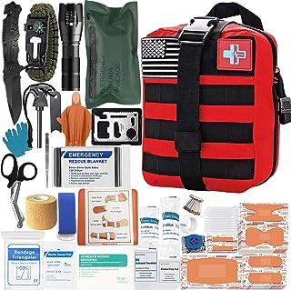 [ارتقا 2020 سال 2020] کیت کمک های پزشکی تقویت کننده کیف دستی اول تاکتیکی لوازم کمکی لوازم کمک اولیه کوله پشتی کوهنوردی مجموعه ایمنی برای اتومبیل قایق (RED