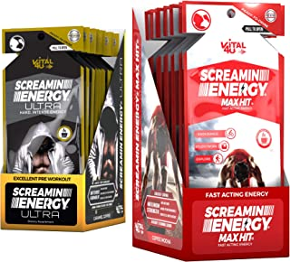 Screamin Energy Max Hit/Ultra Combo Pack - Energy Shots for Endurance and Performance with Caffeine, Panax Ginseng Extract, and Vitamins - 24 Count