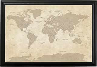 Push Pin Travel Maps Vintage World with Black Frame and Pins 24 x 36