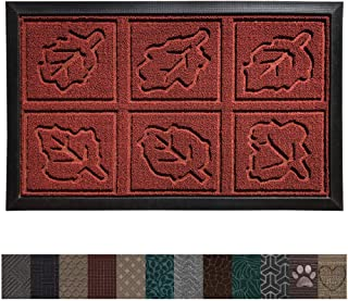 Gorilla Grip Original Durable Rubber Door Mat, 29 x 17, Heavy Duty Doormat, Indoor Outdoor, Waterproof, Easy Clean, Low-Profile Autumn Mats for Entry and High Traffic Areas, Burgundy Leaves