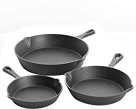 Gibson Home Addlestone Pre-Seasoned Cast Iron Skillet Set, 3-Piece (6/8/10-Inch), Grey