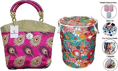 Kuber Industries Women's Mini Handbag(Pink,Par006711) & Round Cloth Foldable Laundry Basket Bag, Volume:-30L,Multi Color Combo