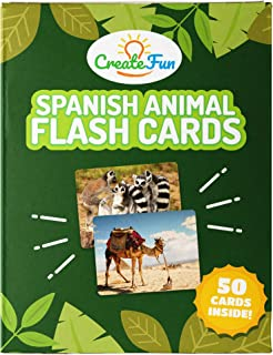 CreateFun Spanish Animal Flash Cards for Kindergarten, Preschool, Toddlers and Babies - 50 Educational First Words Photo Cards - 4 Language Learning Games - for Teachers and Parents
